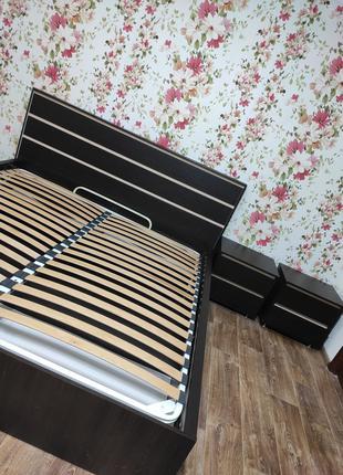 Кровать Венге 180х200 с подъемным механизмом + прикроватные тумбы