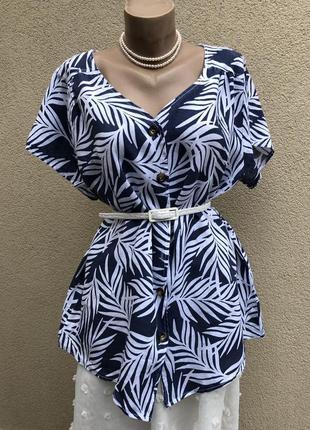 Льняная блуза, рубашка в принт, большой размер,италия,
