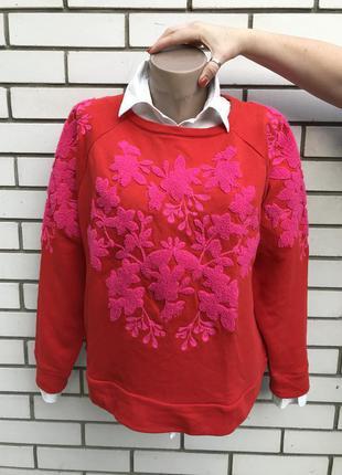 Красный свитшот,кофта реглан с пушистой вышивкой h&m
