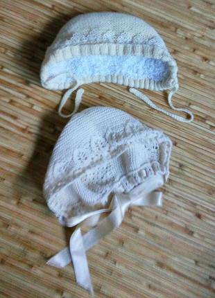 Sale набор вязаных чепчиков для новорожденной, с кружевом