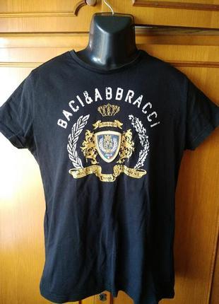 Черная фирменная мужская футболка 100% хлопок l размер