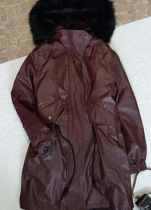 Теплая парка на осень зиму . куртка пальто на меховушке