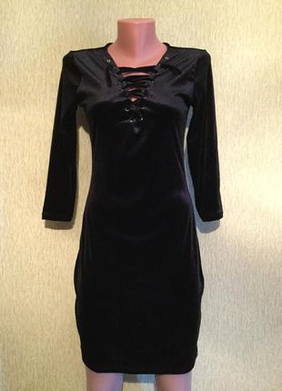 Платье бархатное со шнуровкой по фигуре coolcat размер м