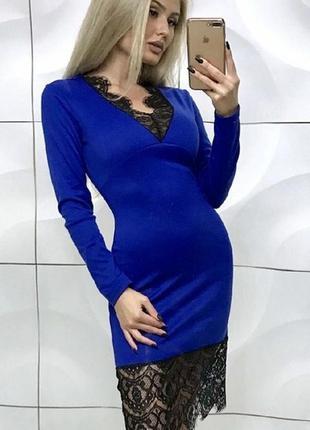 Распродажа! красивое синее платте с кружевом