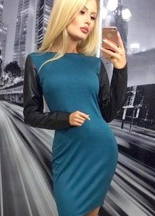 Распродажа! шикарное трикотажное платье экокожа