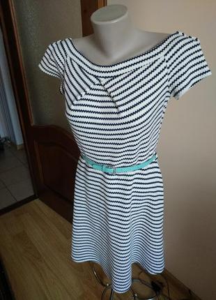 Классное черно-белое платье солнце клеш миди 14 р atmosphere!