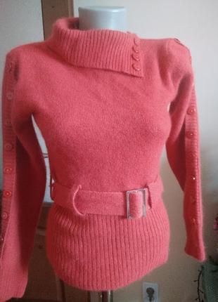 Теплый шерстяной  свитер джампер кофта с пуговками на ремешку ...