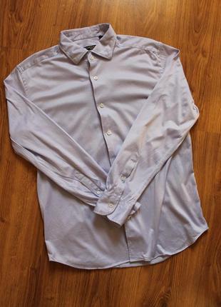 Изысканая мужская рубашка хлопковая нежно сиреневый цвет corne...