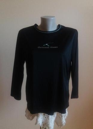 Кофта джампер пуловер черная с надписью 10-8р george!скидка -15%