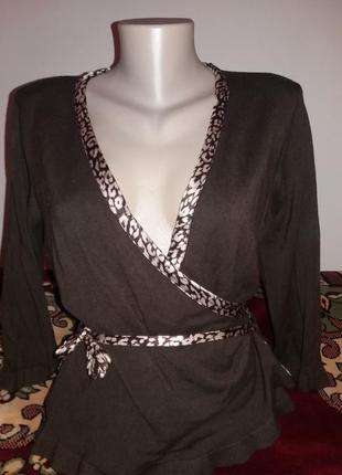 Кофта на завязке кардиган кофта свитер с леопардовым принтом  м