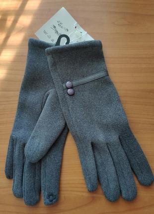 Женские серые перчатки утепленные для мобильного телефона