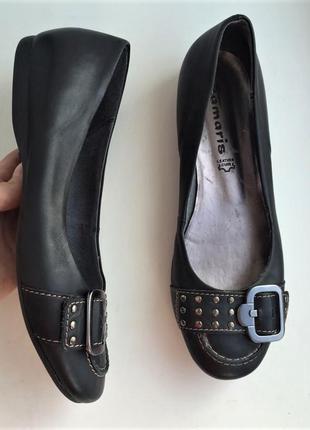 Кожаные балетки tamaris р. 39 туфли