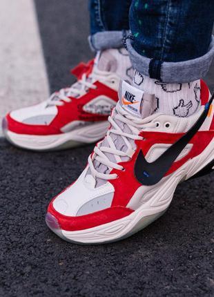 """Nike m2k tekno x off white """"white\red"""", мужские кроссовки найк..."""