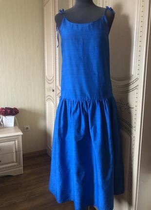 Эксклюзивное шелковое платье сарафан, натуральный дикий шёлк ш...