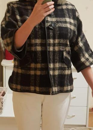 Куртка в клетку шерстяная с капюшоном