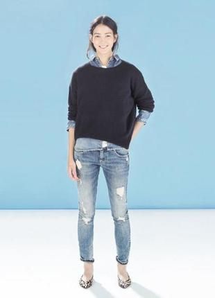 Стильные выбеленые рваные джинсы с потертостями zara premium wash