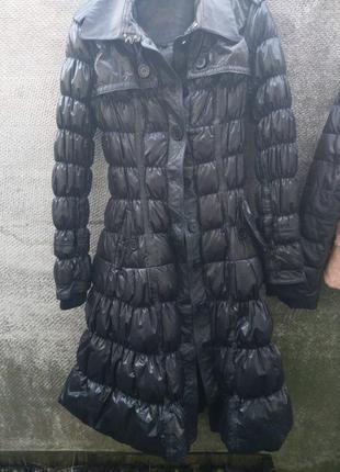 Пуховик пальто не промокаемый с кожаными вставками 🖤
