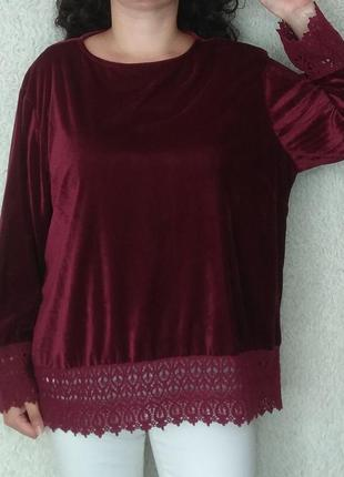 Бархатная блуза с вышивкой, 26р
