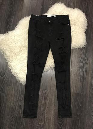 Акция до 01.09 чёрные рваные джинсы denim co 139 грн