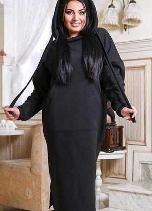 Теплое трикотажное платье большие размеры