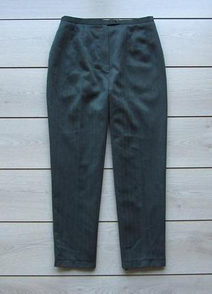 Укороченные брюки бананы в елочку шерсть высокая посадка талия...