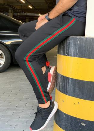 Утеплённые штаны Gucci Green/Red/Green Черные