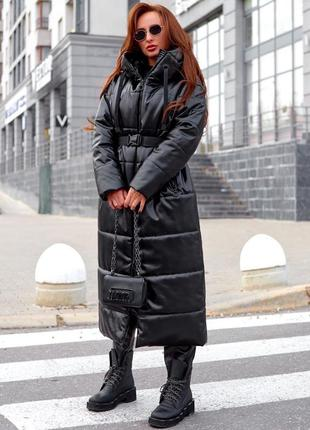 Куртка длинная/пальто с капюшоном эко кожа осень-зима