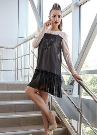 Платье casual с сеткой, платье женское свободного кроя черное