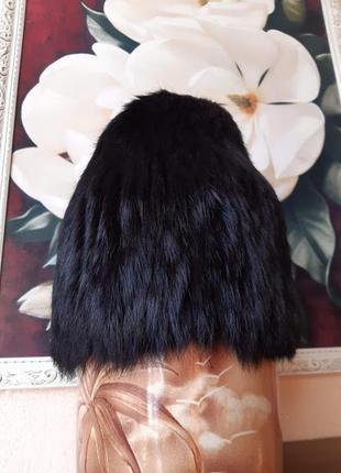Шапка сноп меховая из меха кролика стрейчевая черная зимняя