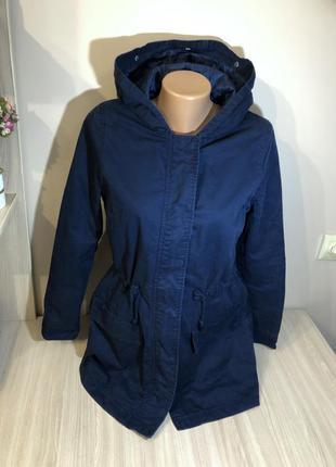 Парка женская куртка тонкая темно-синя жіноча парка