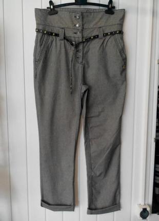 Стильные с высокой посадкой женские брюки бойфренды в мелкую к...