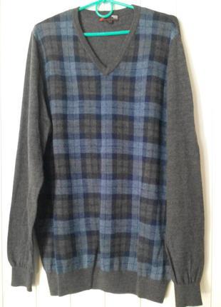 Шикарный мужской пуловер свитер из шерсти мериноса