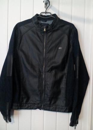Крутая мужская  джинсовая кожанная куртка пиджак  оригинал  ar...