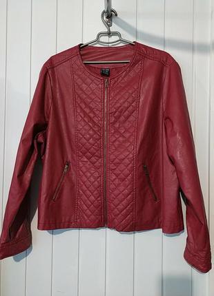 Актуальная женская кожанная куртка пиджак  большого размера ce...