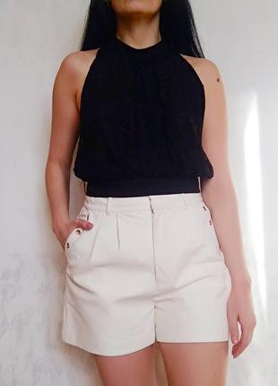 Шикарний гіпюровий укорочений топ майка-блуза з відкритою спиною