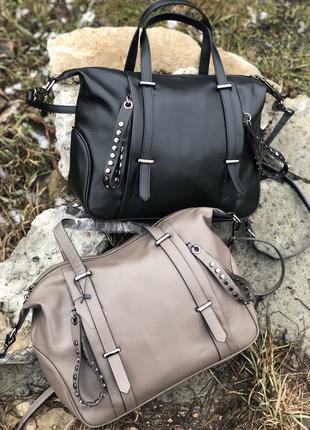 Женская кожаная сумка. Большая сумка. Вместительная сумка.