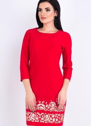 Платье женское нарядно-повседневное красного цвета