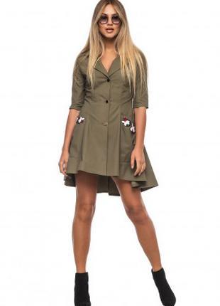 Платье рубашка женское стильное с карманами