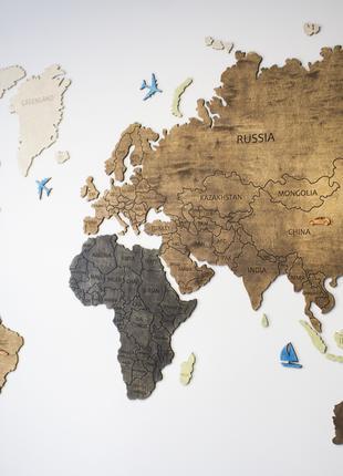 Карта мира на стену с фанеры тонированая