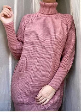 Свитер платье пудрового цвета
