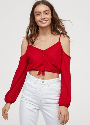 Супер стильная красная блуза на бретельках с длинным рукавом d...
