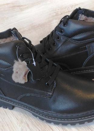 Зимние кожаные ботинки, на цигейке