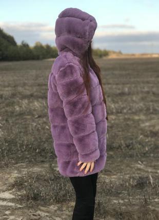 Шуба с капюшоном теплая искусственная мех кролик рекс
