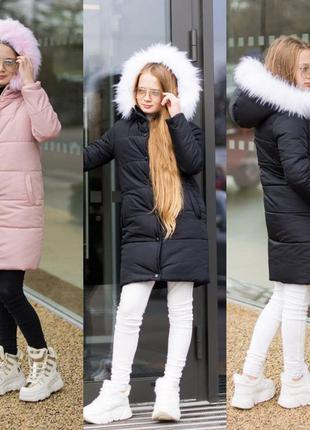 Стильная зимняя куртка удлиненная, пальто с капюшоном и мехово...