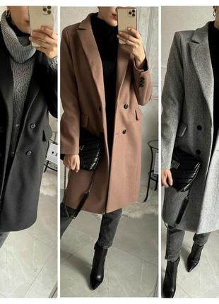 Двубортные кашемировое пальто однотонное с шерстью длина до ко...