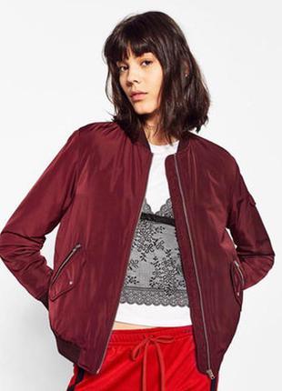 Куртка бомбер бордо марсала бургунди с карманами спортивная на...