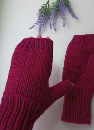 Митенки вязаные перчатки для сенсорных экранов