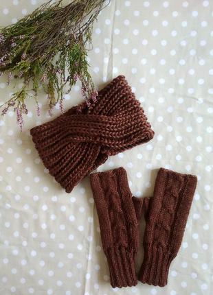 Повязка вязаная чалма тюрбан теплая митенки вязаные идея подарок