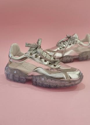 Серебряные кроссовки на прозрачной подошве джимми чу jimmy cho...