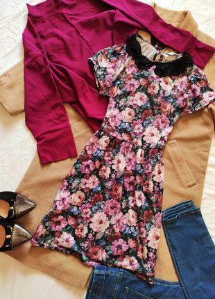 Платье цветочный принт с чёрным воротником трикотажное